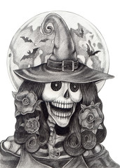 Art skull witch Halloween day.Art design women skull witch smiley face hand pencil Halloween day hand pencil drawing on paper.