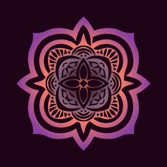 symmetry ornament with pink and violet elements, traditional Islamic Pattern