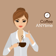 Pretty girl holding a cup of coffee