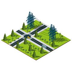 Isometric Power lines illustration.