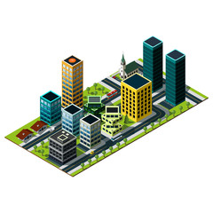 Modern isometric city map. Set of buildings. Living area  illustration.
