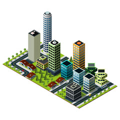 Isometric city map. Set of buildings in downtown. Real estate illustration.
