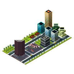 Isometric gas station and bank building illustration. Skyscrapers icon.
