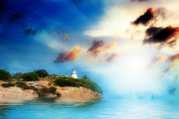 Coastal lighthouse and a wonderful sea space