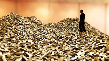 Man on pile of gold bars. business concept. 3d rendering.