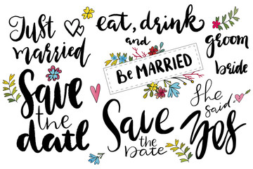 just married, save the date templates, labels, card. Wedding invitation with hand drawn lettering, flowers in simple style, Isolated