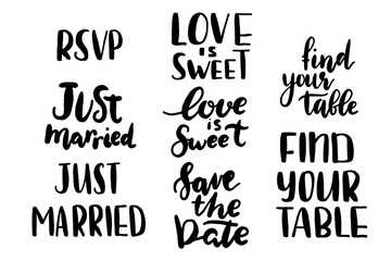 just married, love is sweet, find your table templates, labels, card. Wedding invitation with hand drawn lettering,