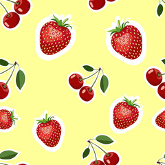 Pattern of realistic image of delicious strawberries and cherry different sizes. Yellow background