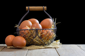 Wire basket with eggs