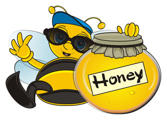 cool, trendy, stylish, cap, sunglasses, hold, bank, closed, cartoon, bee, wasp, striped, bug, insect, wings, yellow, wings, uly, honeycomb, honey, beekeeping, honey bee, happy, cute, funny,
