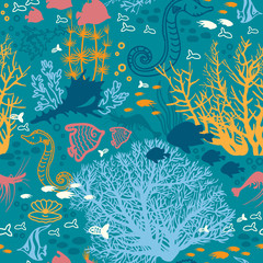 Seamless pattern with underwater coral and fish.