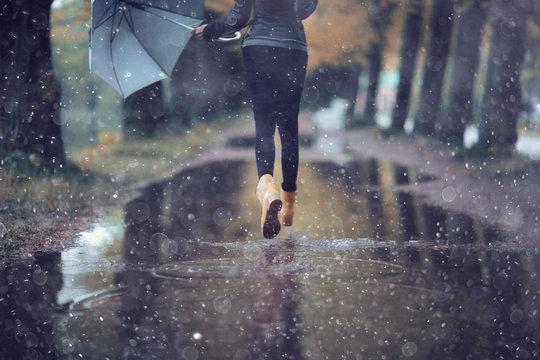autumn landscape city woman umbrella rain puddles of yellow trees