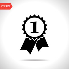 First prize badge with ribbons vector flat icon