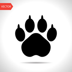 Animal paw footprint vector flat icon