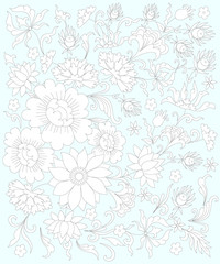 hand painted flowers, Page coloring for adults,