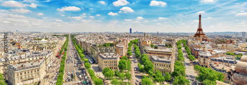 Fototapete Beautiful panoramic view of Paris from the roof of the Triumphal