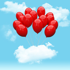 Escape conceptual- red balloon holding cloud into the sky background