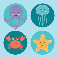 Cute ocean animals icons on Blue Sea background. Aquatic and Marine life vector illustration of jellyfish, crab, octopus, satarfish