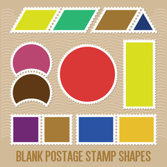 A Variety Of Blank Postal Stamps Shapes