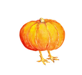 Pumpkin as thanksgiving turkey. Watercolor