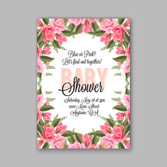 Baby shower invitation template with watercolor tropical flower wreath