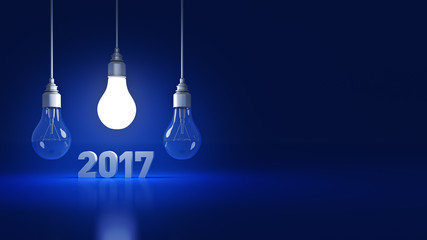 2017 New Year sign inside light bulbs. 3D rendering