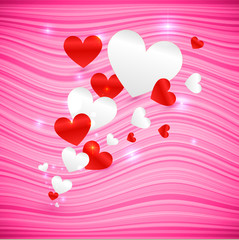 Vector pink wavy Valentine's Day background