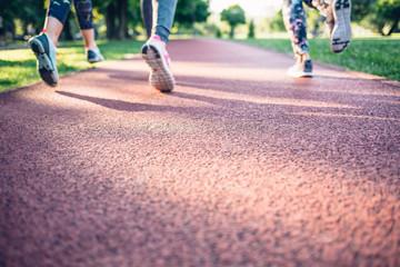Women running on a jogging track