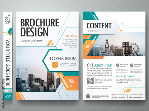 Green abstract shape poster portfolio layout design city for Brochure for web design company
