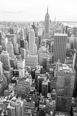 View of Midtown Manhattan New York City skyline in monochrome black and white