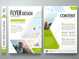 Green Abstract square in cover book portfolio presentation poster. Brochure design template vector. City design on A4 brochure layout. Flyers report business magazine poster layout portfolio template.