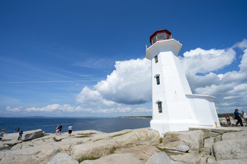 Traditional red and white lighthouse at Peggy's Cove in Halifax, Nova Scotia, is one of the most famous in the world