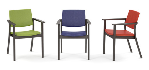 The red, blue, green chairs. 3D illustration