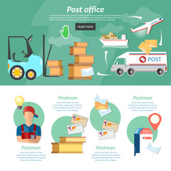 Post banners infographics mail delivery
