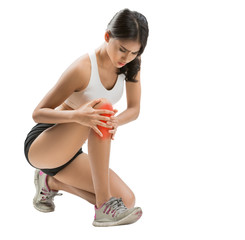 Woman exercise she injured a knee.
