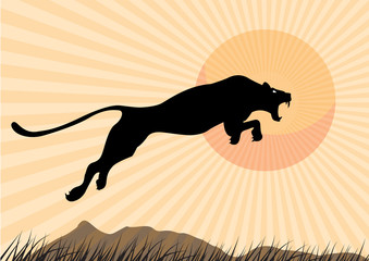 Silhouette Cheetah, Panther, graphic vector.