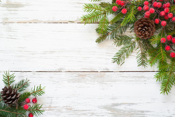 Christmas decorations  on white wooden table.