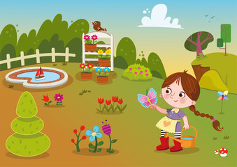 Flower Garden And Girl