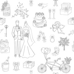 Wedding vector seamless background with hand drawn icons bride, groom, wedding cake, cupid, bicycle, bouquet, ring, arch, gift box, birdcage, champagne.
