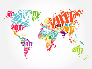 Door stickers World Map 2017 Happy New Year, World Map in Typography word cloud collage concept
