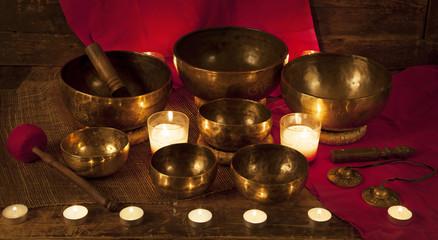 Set of Tibetan singing bowls and bells