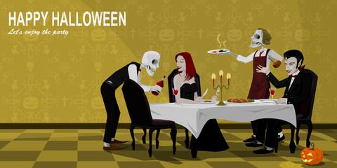 Vampire have dinner on Halloween night