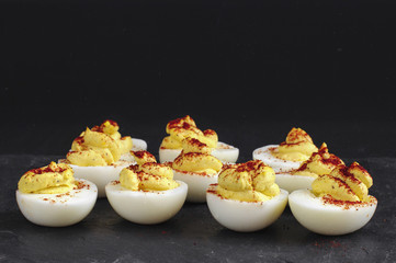 Homemade Spicy Deviled Eggs with Paprika
