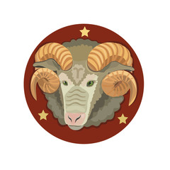 The head of the RAM with the stars/ Born under the sign of Aries, the emblem on a red background with three stars the symbol of victory!