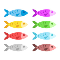 Colorful fish set. Flat design. Vector illustration