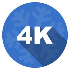 4k blue flat design christmas winter web icon with snowflake