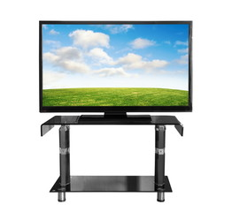 Tv on the stand with picture