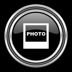photo silver chrome metallic round web icon on black background