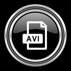 avi file silver chrome metallic round web icon on black background