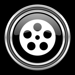 film silver chrome metallic round web icon on black background
